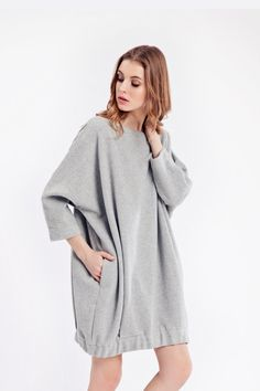 3/4 sleeve wool dress, midi wool dress, short wool dress, wool hoodie, warm wool dress, autumn winter dress
