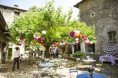 Marjorie et Benjamin, mariage dans la Drôme. Déco type guinguete