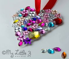 Valentine Craft - Jewelled Milk Bottle Sun Catchers - My Little 3 and Me Mothers Day Crafts, Valentine Day Crafts, Be My Valentine, Holiday Crafts, Holiday Fun, Crafts To Do, Craft Projects, Crafts For Kids, Arts And Crafts