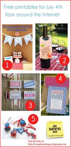 Five free printables for  July 4th