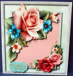 Beautiful Summer Roses  on Craftsuprint designed by Ceredwyn Macrae - made by Cheryl French - Printed twice onto glossy photo paper. Attached base image to card stock using ds tape. Cut out flowers of 2nd print. Attached to card using 1mm foam pads. - Now available for download!