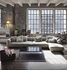 Living Room Loft Conversion Concrete blends with Monotones