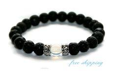 Opalite & Lava Bracelet Lava Jewelry Men Jewelry Boyfriend Father Gift Mala Beads Bracelet Lava Rock Jewelry Opalite Gift Lava Gift