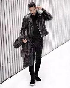 Men's Outfits 2021 | Lookastic Men Fashion Show, Fashion 2020, Mens Fashion, Fashion Tips, Navy Shawl, Black Leather Biker Jacket, Zara Boots, Semi Casual, Sweet Style