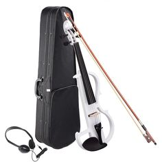4/4 Full Size Electric Violin Bow Case Headphone Set Color Opt