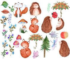 "Woodland animals clipart: ""WATERCOLOR CLIP ART"" Forest animals,Cute clipart,Kids clipart,Fox clipart Forest Animals, Woodland Animals, Diy Invitations, Invites, Mushroom Clipart, Forest Drawing, Ballpoint Pen Drawing, Cute Clipart, Animal Drawings"