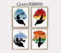 Game of Thrones set of 4 counted cross stitch pattern Lannister Jon Snow wolf The night king - Cross