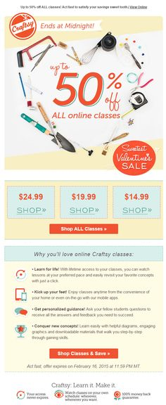 Craftsy Valentine's Day email 2015