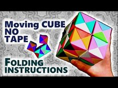 Origami cube that can move, how to make without adhesive - folding instruction - JAPANIA - YouTube