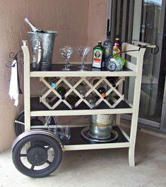 new bar cart, painted furniture, rustic furniture, After photo of bar cart with wine rack in the middle Bar Furniture, Rustic Furniture, Painted Furniture, Plywood Furniture, Furniture Projects, Modern Furniture, Furniture Design, Outdoor Furniture, Diy Bar Cart