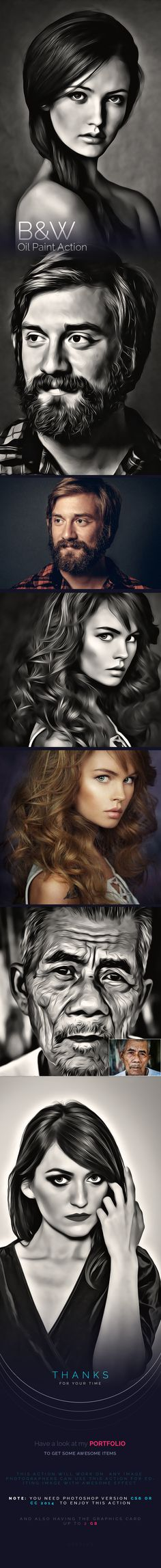 B&W Oil Paint Action - Photo Effects Actions