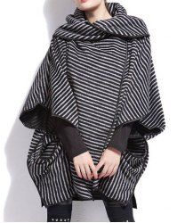 $16.21 Stripe Color Block Cotton Cowl Neck Bat-Wing Sleeves Loose-Fitting Style Coat For Women