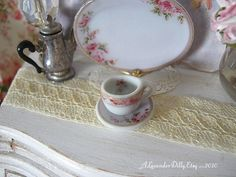 Hertford Dollhouse Tea Cup/Saucer by alavenderdilly on Etsy, $3.75