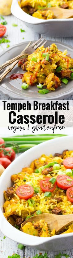 Tempeh vegan breakfast casserole