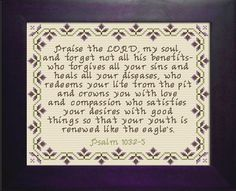 Praise The Psalm Cross Stitch Design Crewel Embroidery, Cross Stitch Embroidery, Embroidery Patterns, Cross Stitch Charts, Cross Stitch Designs, Cross Stitch Patterns, Psalm 103 2, Religious Cross, Favorite Bible Verses