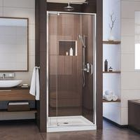 The FLEX pivot shower door from DreamLine® has an accommodating classic design to enhance your shower space. Choose the FLEX shower door to complete your bathroom with a modern and innovative design at a fraction of the custom glass price. DreamLine&r Frameless Shower Enclosures, Frameless Sliding Shower Doors, Dreamline Shower, Framed Shower Door, Shower Base, Shower Kits, Shower Stalls, Custom Glass, Types Of Doors