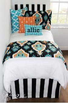 Tangerine & Teal Ikat Designer Bed In A Bag Set