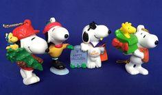 4 PVC Snoopy Figures 3 Christmas Ornaments 1 Halloween VTG Peanuts Woodstock #UnitedFeatureSyndicate