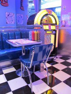 Rock n' roll American style with a neon jukebox, love the glossy chair!
