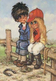 St. Wold .....  Jack en Carolien zitten samen op een hekje met een hoefijzer voor hen.....  paarden lopen in de wei..