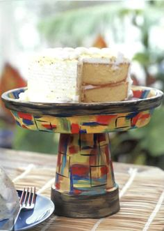 diy cake stand made of painted flower pot and a saucer - tutorial (scroll down)