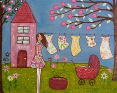 https://flic.kr/p/6pgDpX   Laundry Day Tree Flower House Girl Collage Art Painting by Sascalia   My new Mixed Media  Collage Painting . To find out more about me and my art please look at my profile.