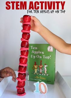 How tall can you make the tower?  Inspired by Ten apples Up On Top, this fun engineering, STEM activity with apples and playdough is a great activity for preschoolers, kindergartners and first grade!