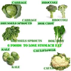 They are:     Kale,  Cabbage,   Brussels Sprouts,   Broccoli,   Bok Choy,   Cauliflower, >> These 6 vegetables are all members of the cruciferous family of vegetables. They are already well known for their role in reducing the risk of cancer because of their high amount of phytochemicals. They are high in fiber, vitamin A, C and folic acid.