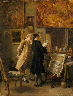 An Artist Showing his Work by Jean-Louis Ernest Meissonier (1815-1891) Exhibited at the Paris Salon of 1850–1851. Oil on oak panel,  @Matty Chuah Wallace Collection