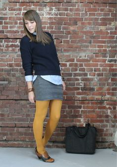 classic business casual with mustard yellow tights