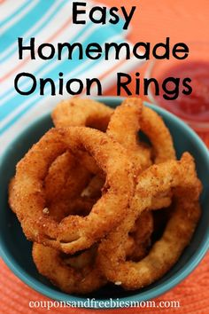 Easy Homemade Onion Rings! These melt-in-your-mouth onion rings are crispy and delicious! Make them right at home with this simple recipe! Perfect for game day too! Your family and friends will be asking for more! Check out this easy recipe now!