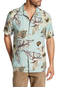 San Paolo Blooms Original Fit Short Sleeve Silk Shirt