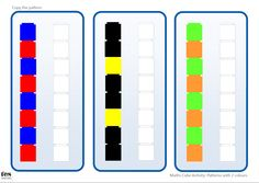 Copy the Pattern - 2 Colours: Activities based around copying simple patterns with maths cubes. Includes templates for both Unifix and Multilink style cubes