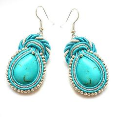 Earrings soutache with stones turquoise. In colors : turquoise, silver and white.. $24.00, via Etsy.