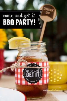 Paper and Cake | BBQ Printable Party: Party Release Party! | printable invitation, banner and cupcake toppers