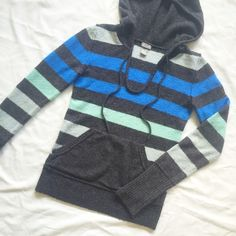 Ombré Striped Hoodie Pocket on front • Will remove pilling before shipping • Soft material: acrylic-nylon and 3% spandex blend • tag says XS, but this hoodie has a little stretch so can easily fit a Small as well • Make an offer! Delia*s Sweaters