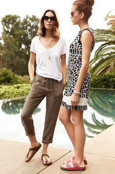 summer style: Gizeh Birkenstocks + white draped tee + drawstring olive pants