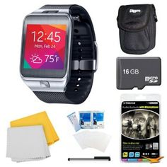 Samsung Gear 2 Black Watch, Case, and 16GB Card Bundle - Includes watch, 16GB Micro SD Memory Card, Ultra-Compact Carrying Case, White Audio Earbuds with Microphone, Stylus Pen with Pocket Clip, LCD Screen Protectors, and Micro Fiber Cloth