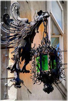 - All For Lamp İdeas Muebles Estilo Art Nouveau, Motifs Art Nouveau, Lantern Lamp, Iron Work, Gothic House, Street Lamp, Antique Lamps, Street Furniture, Outdoor Walls
