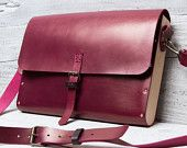 Burgundy leather and wood briefcase messenger bag.