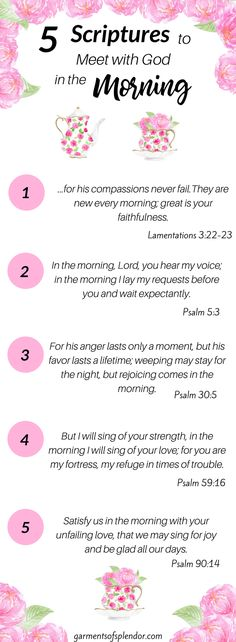 Scriptures to meet with God in the morning. 5 Bible verses with God to get the day started. Christian Living, Christian Life, Christian Quotes, Bible Prayers, Bible Scriptures, Great Is Your Faithfulness, Morning Prayers, Morning Verses, Morning Scripture