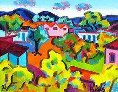 A pequena comunidade, 1983 Inimá de Paula ( Brasil, 1918-1999) óleo sobre tela, 50 x 40 cm -