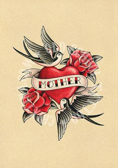 MOTHER LOVE. heart swallows roses Flash tattoo. Old school