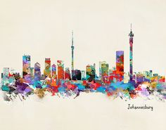 Johannesburg South Africa skyline Art Print by bri.buckley - X-Small Skyline Painting, Skyline Art, Afrika Tattoos, Johannesburg Skyline, South Africa Art, City Art, Pictures To Paint, Vintage Posters, Illustration Art