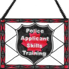 Custom Police Applicant Skills Training Logo. Hand painted in the stained glass style on unframed Plexiglas. Measures 5 x 7 inches. Fits standard 5x7 frame ( not included, unless picking up or delivered )