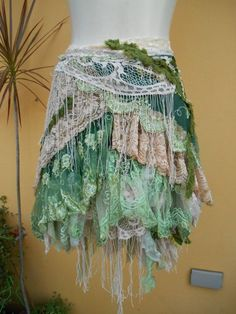 vintage inspired extra shabby wrap skirt/shawl...a work of art andlove...40 across plus ties..rer.