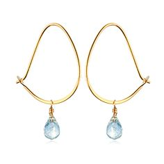 "Satya Jewelry ""Teardrop hoops - Aquamarine"""