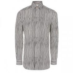 Paul Smith Men's Black And White 'Painted Stripe' Print Cotton-Cashmere Shirt