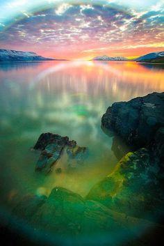 Sunset near Eyjafjordur, North Iceland.