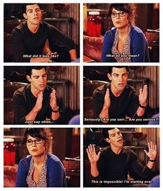 """Schmidt is hilarious! Actually, all the characters on """"New Girl"""" are hilarious. I just love this show! New Girl Quotes, Tv Quotes, Movie Quotes, Funny Quotes, New Girl Funny, New Girl Schmidt, Jessica Day, Nick Miller, Chef D Oeuvre"""